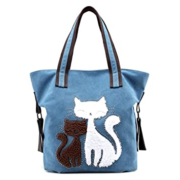 Women Cat Canvas Shoulder Bag Canvas Purse Tote Shoulder Bag Travel Beach Handbag  Lady Retro Handbags 978f6ef1c31e3