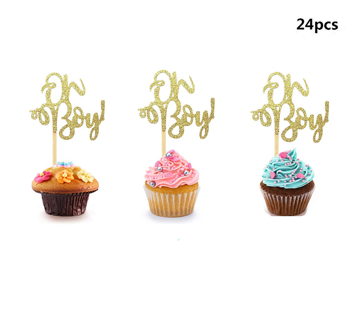 Set of 24 Golden Oh Boy Cupcake Toppers Party Decors Baby Shower Decors