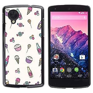 TopCaseStore / la caja del caucho duro de la cubierta de protección de la piel - Sweet Sweets Drawing Candy - LG Google Nexus 5 D820 D821