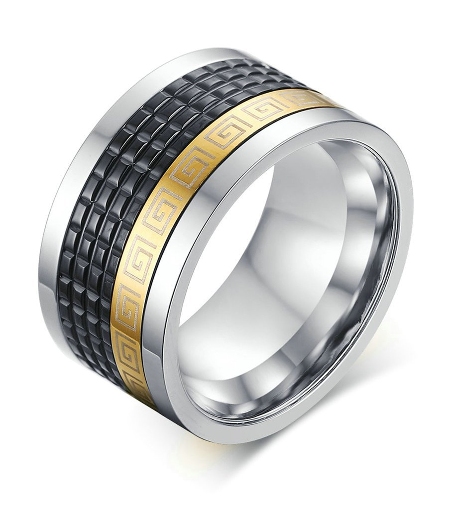 Tianyi 12mm Men's Fashion Stainless Steel Three-Tones Greek Key Spinner Engagement Wedding Band Ring Size 9