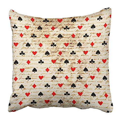 Emvency Decorative Throw Pillow Covers Cases Abstract Pattern Suits Casino Casino Playing Club Continuity Cross Curve 16x16 inches Pillowcases Case Cover Cushion Two Sided