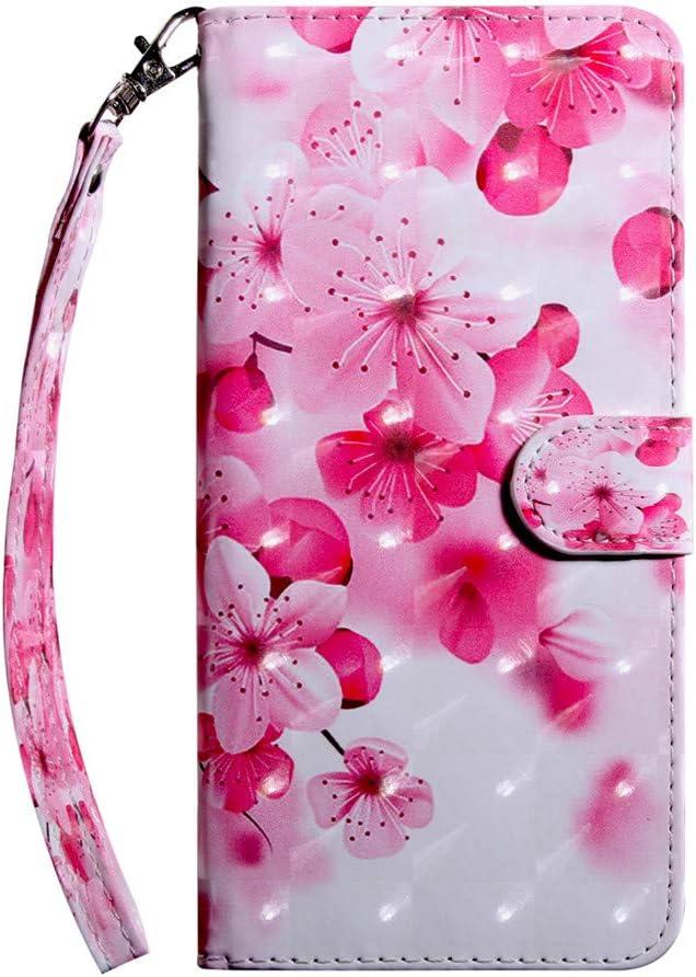 COTDINFOR Funda para LG K30 2019 Funda Protectora Efecto 3D Pintada de Piel Premium PU Shell con Magn/ético Cierre Titular de la Tarjeta Carcasa para LG K30 2019 Pink Flower Black Bx.