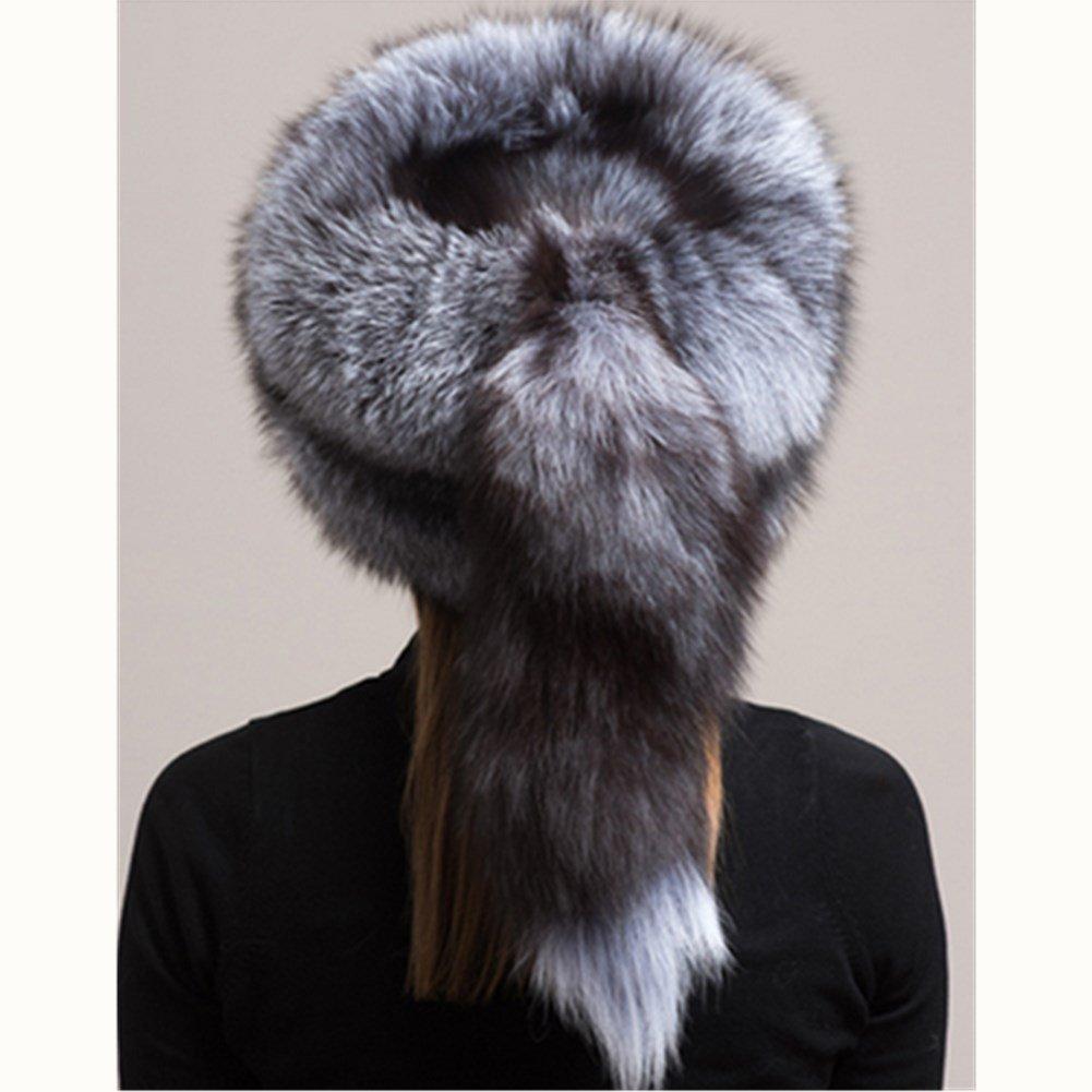 Women's Winter Mongolian Genuine Silver Fox Fur Hat with Tail