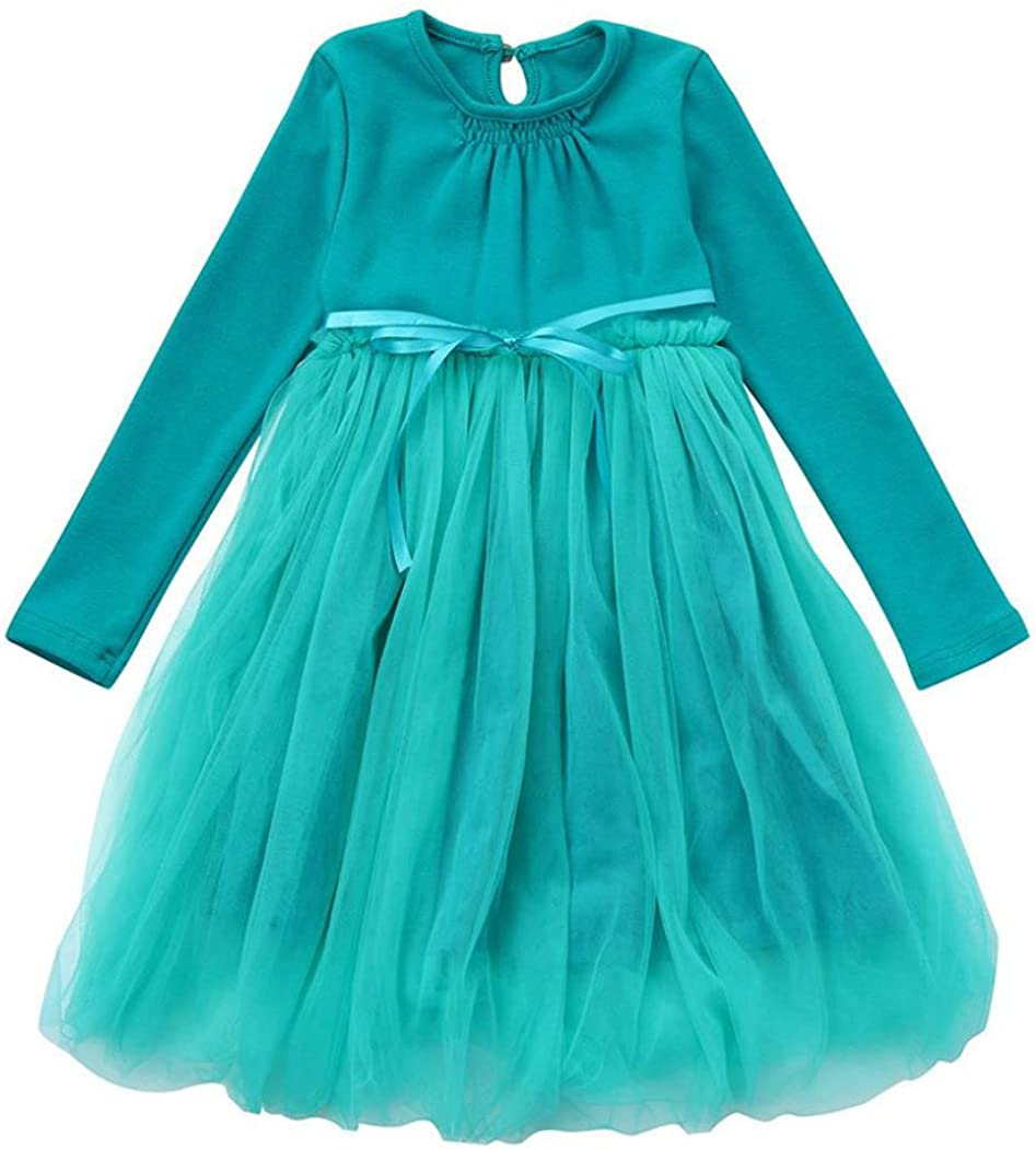 Inkach Toddler Girls Princess Dresses Pageant Gown Long Sleeve Party Bridesmaid Tulle Ruffles Dress