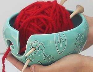 abhandicrafts Hand Carved Floral Leaf Design Cyan Blue Ceramic Yarn Bowl Crafted Yarn Storage Bowl for Crochet Knitting Home Décor