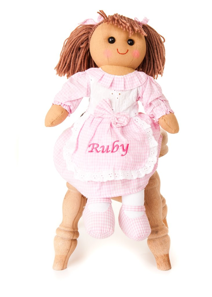 Hoolaroo Personalised Embroidered Girls Vintage Style Rag Doll Pink Gingham brown hair 40cm 5060242507151