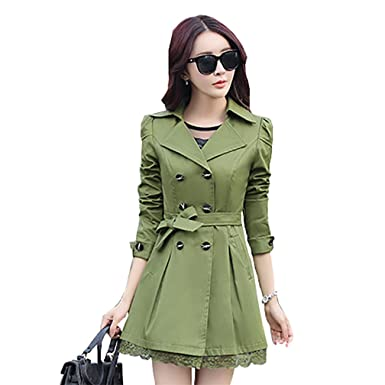 46cff7f901c JZOEOEU Women s Women s Vintage Lapel Trench Coat Double Breasted Jacket  Army Green US 0 (Tag