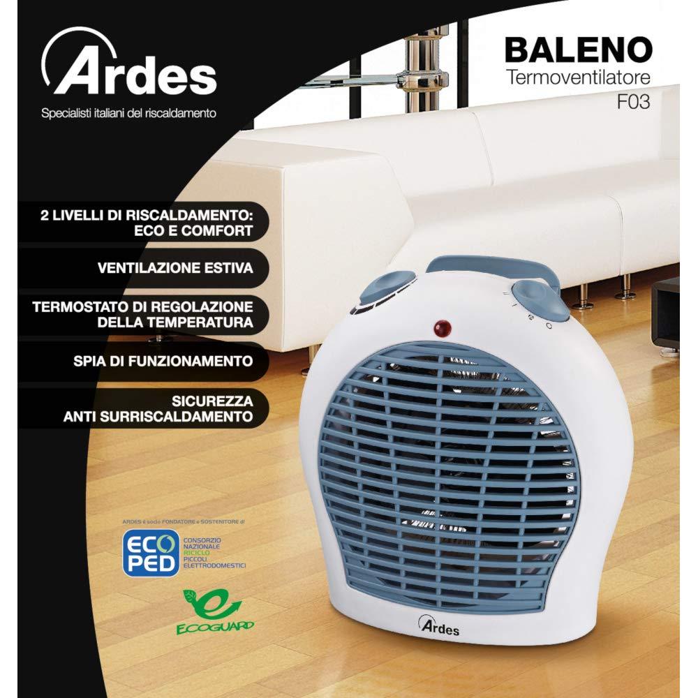 Plastica Bianco Ardes BALENO Termoventilatore Elettrico