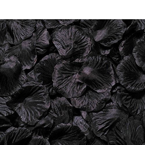 MELUOGE 1000Pcs Silk Sturdy Flower Rose Petals Wedding Party Pasty Tabel Decorations, Definately Lighter But Bright (black) -