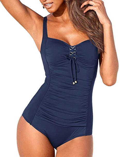 359bad27f4c3e Upopby Women s Vintage Lace Up One Piece Swimsuits Monikini Tummy Control  Swimwear Navy Blue 6