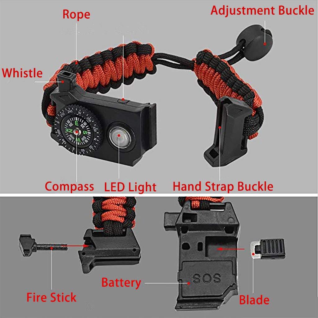Jinjin Multifunctional Lifesaving Bracelet Survival Bracelet Wild Tactical Equipment Compass SOS Whistle Outdoor Ultimate Tactical Survival Gear Set,Gift for Kids,Men