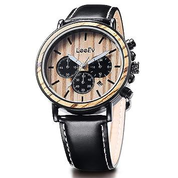WLH Relojes Madera Vintage Hombre Relojes Cuarzo Relojes Elegante Gorgeous Business Clásico Cuarzo Encanto Relojes,