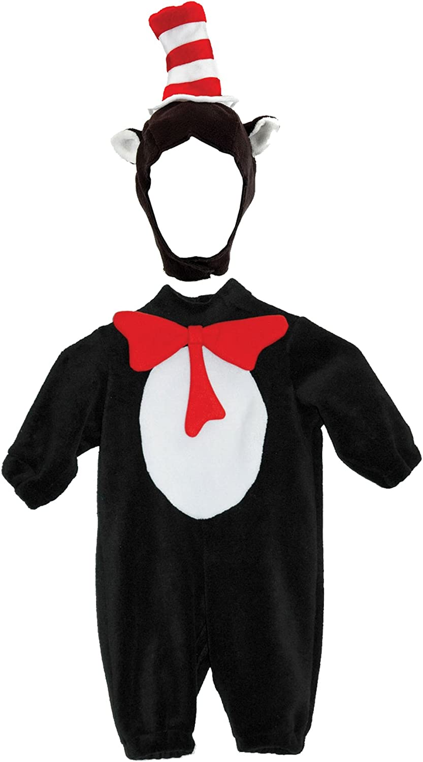 Seuss Cat in the Hat Bodysuit with Tail Costume Child Kids Cartoon Book Dr