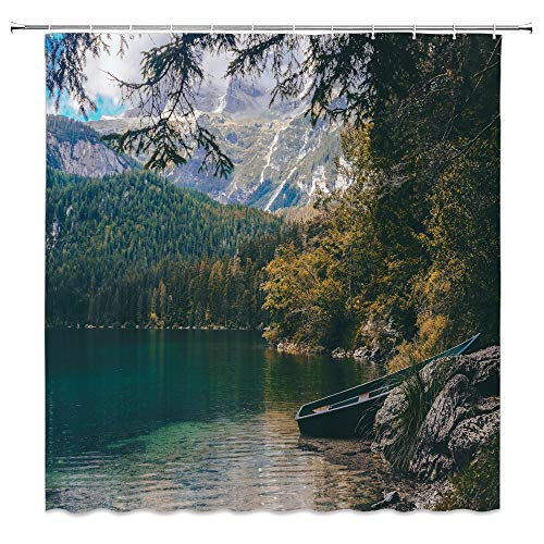 dachengxing Landscape Shower Curtain Primeval Forest Decor Wetland Lake Wooden Boat Dense Jungle Snow Mountain Rock Nature Scenic,Waterproof Green Gray Fabric Bathroom Hooks Included 70x70 - Advantage Wetlands Fabric