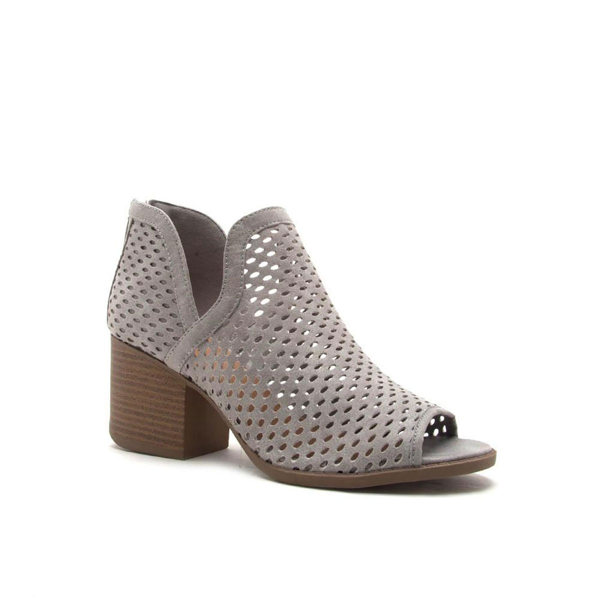 Qupid Perforated Ankle Bootie Boots CORE-27 B076FK56S6 7 B(M) US|Light Grey