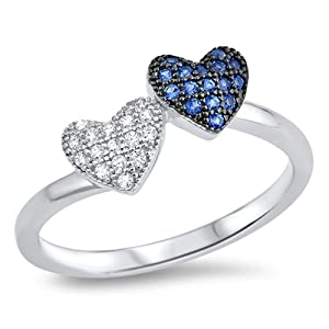 Micro Pave Blue Simulated Sapphire Heart Promise Ring Sterling Silver Band Size 8 (RNG16706-8)