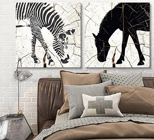 2 Panel Square Zebra Horse Wood Effect x 2 Panels