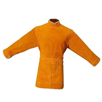 Homyl Delantal Capa Larga Soldadura Soldador Naranja 85cm Prenda de Vestir Ropa Protectora