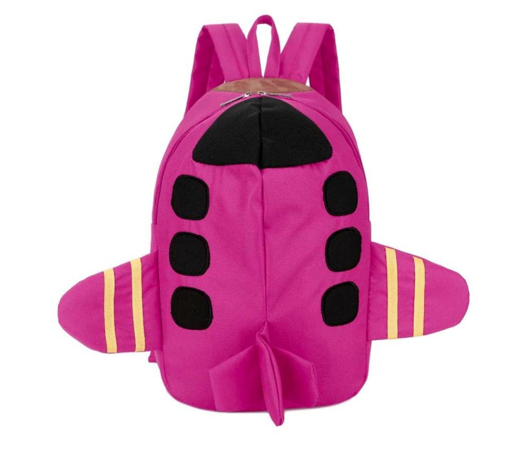 Ecurson Baby Boys Girls Kids Plane Shape Cute Unique Backpack Toddler School Bag (Hot Pink)