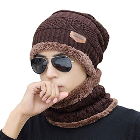 540fc1eca84 Hat Men s Winter Plus Velvet Cotton Hat Thick Knit Caps Caps Cotton ...