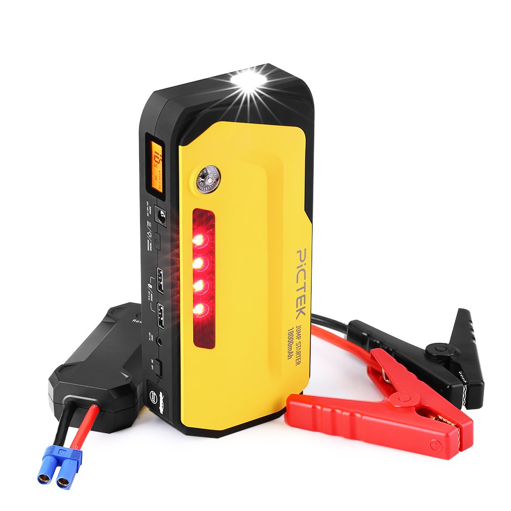 Emergency Car Power Bank with Flashlight Compass for Drivers PICTEK Car Jump Starter,600A Peak 18000mAh Portable Car Battery Booster SOS