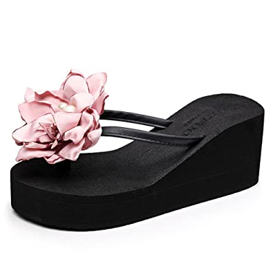 8dacd59ddcfd65 CHENGXIAOXUAN Women s Flip Flops Flower Clip How Feet Slippers Wear New Sandals  Beach Shoes Slope with Flip-Flops Sandals Shoes Leisure Rome Shoes Heel 7cm