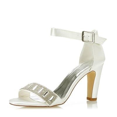 Mrs Right 5471B Women's Bridal Shoes Open Toe Block Heel Rhinestone Pumps Satin Sandals Wedding Shoes | Shoes