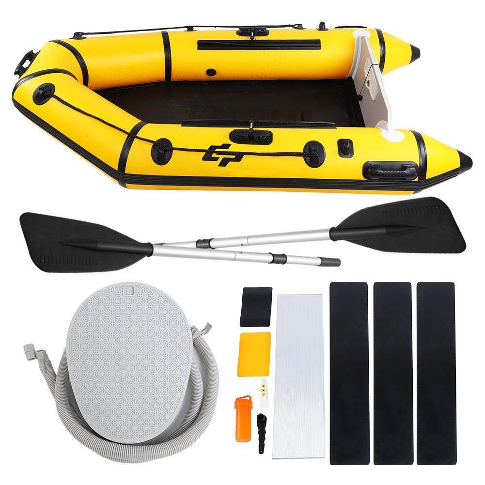 インフレータブルPVC通気性メッシュ布ゴムボートセットオール、ミニエアポンプ、ハンドバッグ、シートプレート、バーチデッキ、カヤック釣り漂流ダイビングのための修復ツール