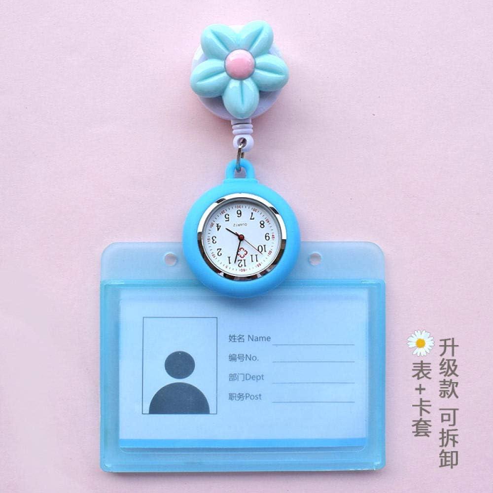 Reloj de Bolsillo Enfermera,Reloj de Enfermera retráctil con Flores Lindas, Estuche para Tarjetas de Bolsillo para Doctor, p5,Broche Movimiento Cuarzo Clip Reloj: Amazon.es: Hogar