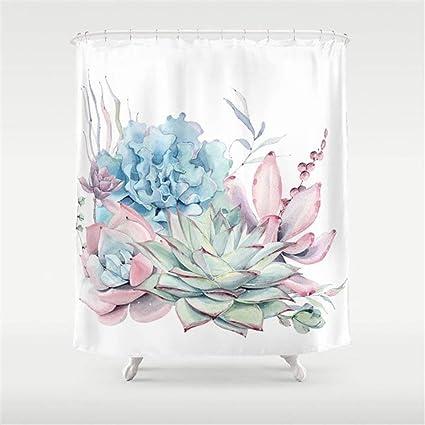 Amazon I Like Exercise Pretty Pastel Succulents Shower Curtain