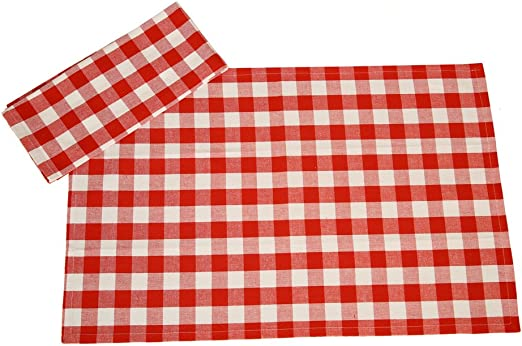 PACK OF 3 GINGHAM CHECK RED WHITE 100/% COTTON KITCHEN TEA TOWELS