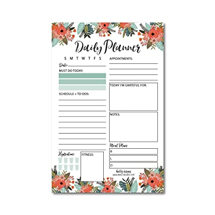 amazon com floral undated daily task planner to do list pad school