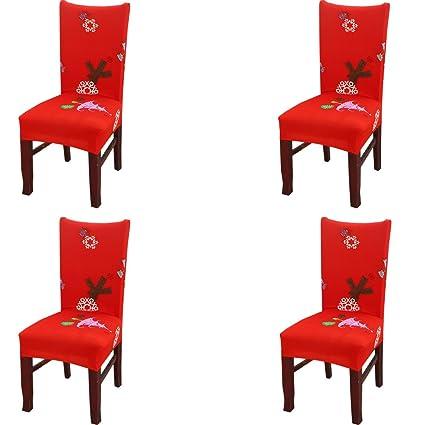 4 Pieces Universel Housse De Chaise Decoration Diner De Noel Party