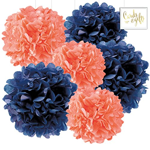 Andaz Press Hanging Tissue Paper Pom Poms Party Decor Trio Kit with Free Party Sign, Coral and Navy Blue, 6-Pack, for Nautical Bridal Shower Wedding Decorations