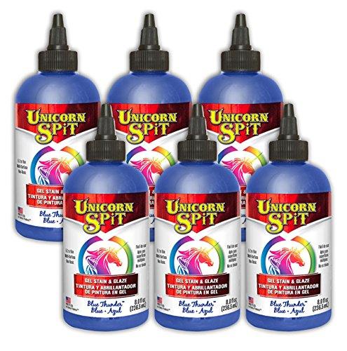 Unicorn SPiT Gel Stain & Glaze in One - 6 Pack Blue Thunder 8oz Bottles by Unicorn Spit