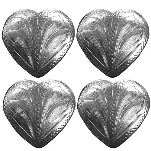 Silver Hearts Concho Rust Free Brass Silver Plated Lot of 4 (1.25