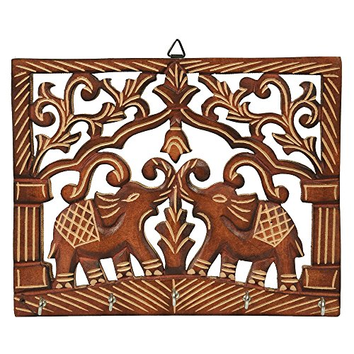 Fine Craft India Beautiful Floral Design Wooden Wall Hanging Key holder in Couple Elephant Shape Best Christmas|Xmas And Thanksgiving Gifts Ideas for Men & Women