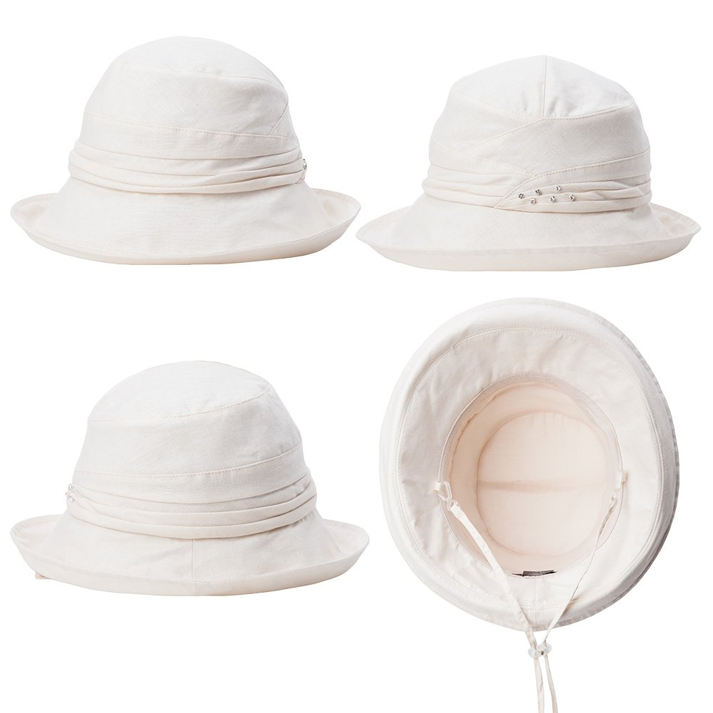 SIGGI Ladies UPF50+ Summer Sunhat Cotton Bucket Breathable Foldable Wide Brim Hats w/Chin Cord Beige by SIGGI (Image #3)
