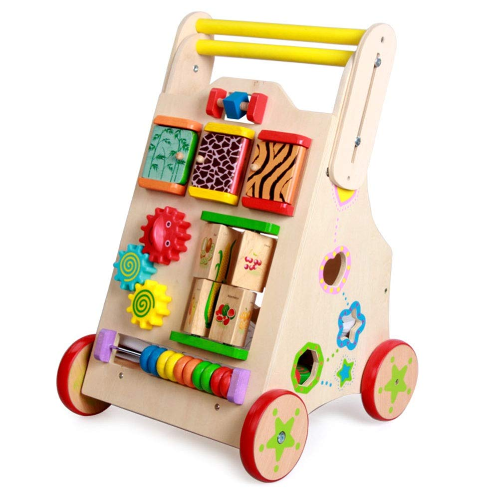 Ybriefbag-Toys Baby Three-in-one Activity Walker Multi-Functional Baby Walker Anti-Rollover Children Wooden Cart Infant Toddler Toy Car (Color : Wood, Size : 32.534.555.5cm)