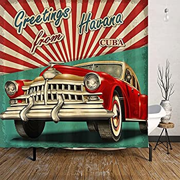 Amazon.com: Orange Design Vintage Car Shower Curtain for Boys Men ...