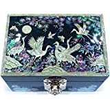 MADDesign Jewelry Box Ring Organizer Hand Made Mother of Pearl Sea Shell Inlay Mirror Lid Crane (Blue)