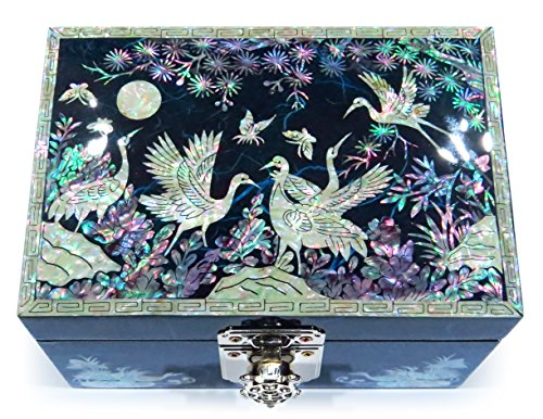 Asian Jewelry Box - Jewelry Box Ring Organizer Mother of Pearl Inlay Mirror Lid Crane (Blue)