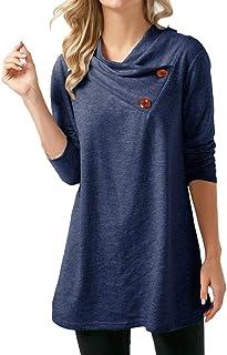 Camicette Donna Casual Solid Button Manica Lunga Primavera Autunno Chic Camicetta Top Shirt Tee Tinta Unita Basic Casual Top Tops Young Fashion Classic Ragazza