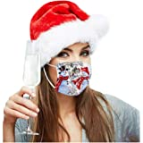 Gillberry 10Pcs Adults Disposable Face Bandanas Christmas Decorations 3 Ply Non-Woven Breathable Prints Headwear