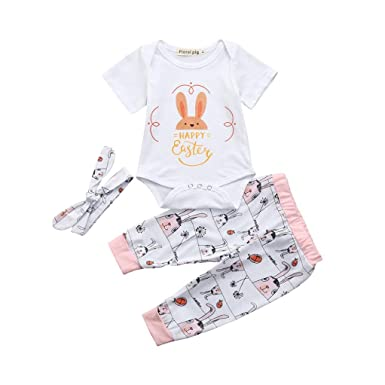 7a2c5a6709e0 Kingko 0~18 Months Baby Clothes Outfit 3PCS Set Happy Easter 3PCS ...