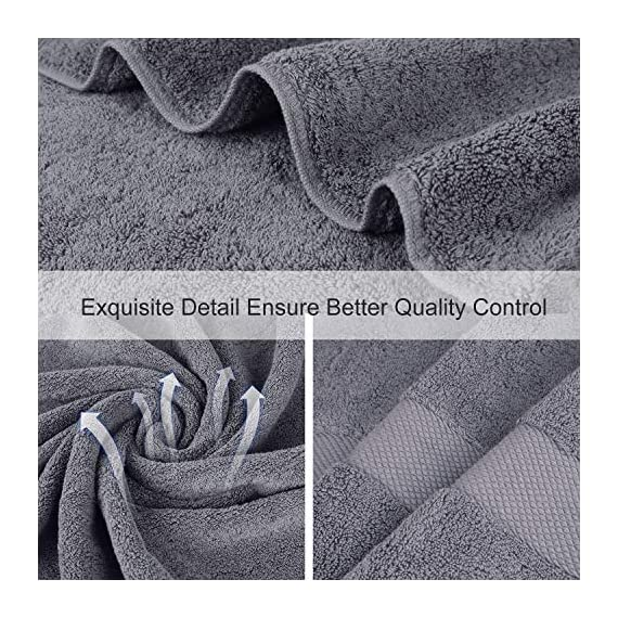 Wonwo 100% Cotton Bath Towels, 600 GSM Luxury 6 Piece Set - 2 Bath Towels, 2 Hand Towels, and 2 Washcloths - Gray - VALUABLE PACK & SUITABLE SIZE--Wonwo bath towel set comes with a convenient 6-piece set for home travel and fitness use. Provides users with all basic bathroom drying needs in one convenient bundle. It includes two bath towels (27x55 inches), two hand towels (13x28 inches), and two wash cloths (13x13 inches) appropriate for all ages. 100% COTTON--Towels are made of high quality natural cotton and have high absorbency. Enjoy the ultimate smooth experience and soft touch. Perfect for babies. The breathable plush is easier to dry. It's safe to use. COMFORTABLE & DURABLE--The bath towel set is 600 GSM, which makes them thicker, stronger, extra absorbent, and more comfortable than others. These towels are elegantly woven to produce an exquisite, high quality, and durable material. Double stitching on all hems insures extra durability. - bathroom-linens, bathroom, bath-towels - 61XjTlkyUbL. SS570  -