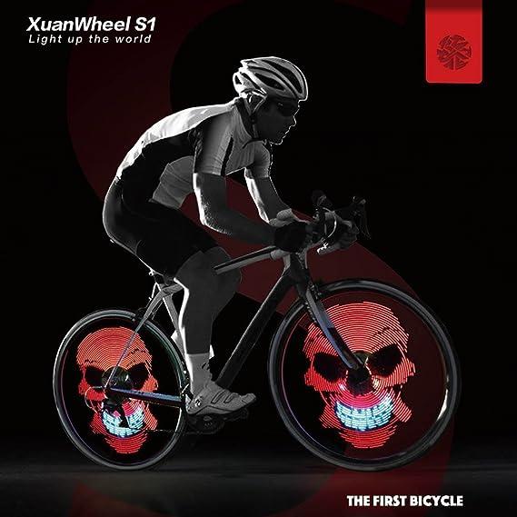 XuanWheel S1 Rueda de Bicicleta Luz LED Esplendoroso Brillante 96pcs RGB LED Colorida APP DIY GIF: Amazon.es: Deportes y aire libre