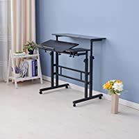 ZASS Mobile Rolling Stand-Up Computer Desk Workstation Height Adjustable Table - Black Willow