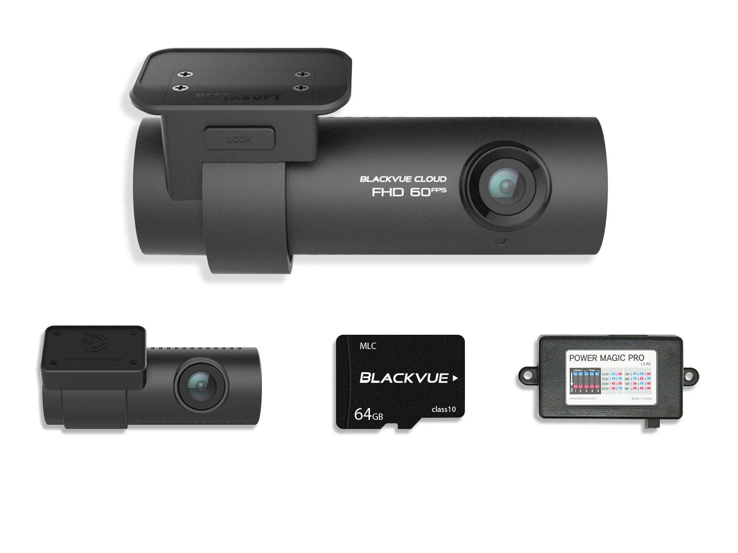 Blackvue DR750S-2CH With Power Magic Pro Hardwiring Kit 2-Channel 1080P Full HD Car DVR Recorder | 64GB SD Card Included