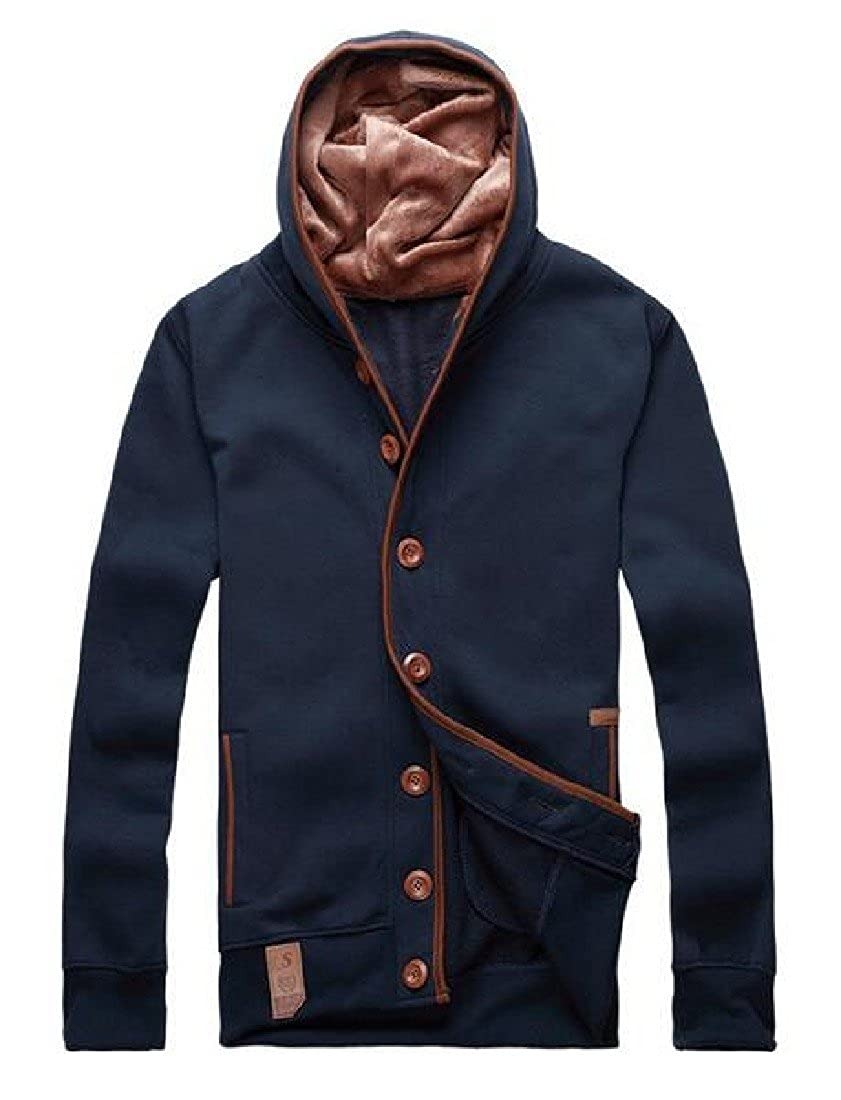 Ruhua Men Chic Cargo Pocket Stitch Printed Hooded Pullover Hoodie Outwear